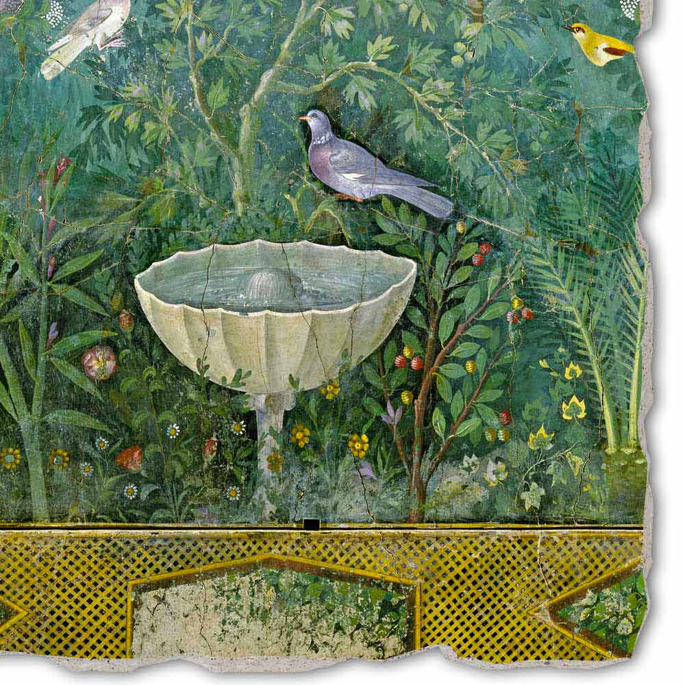 Fountain And Bird Detail Roman Art Hand Painted Fresco