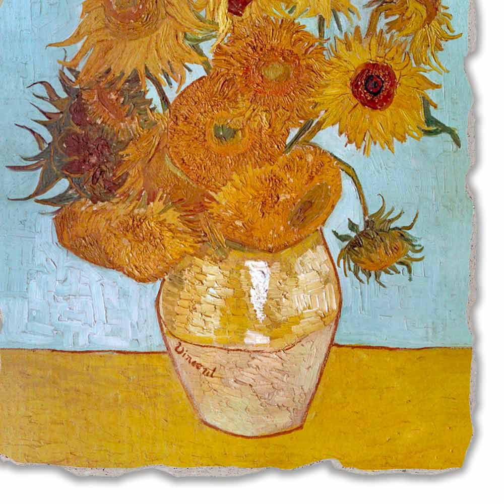 Hand painted fresco sunflowers by van gogh big size large fresco handmade vincent van gogh39s quotvase of sunflowersquot reviewsmspy
