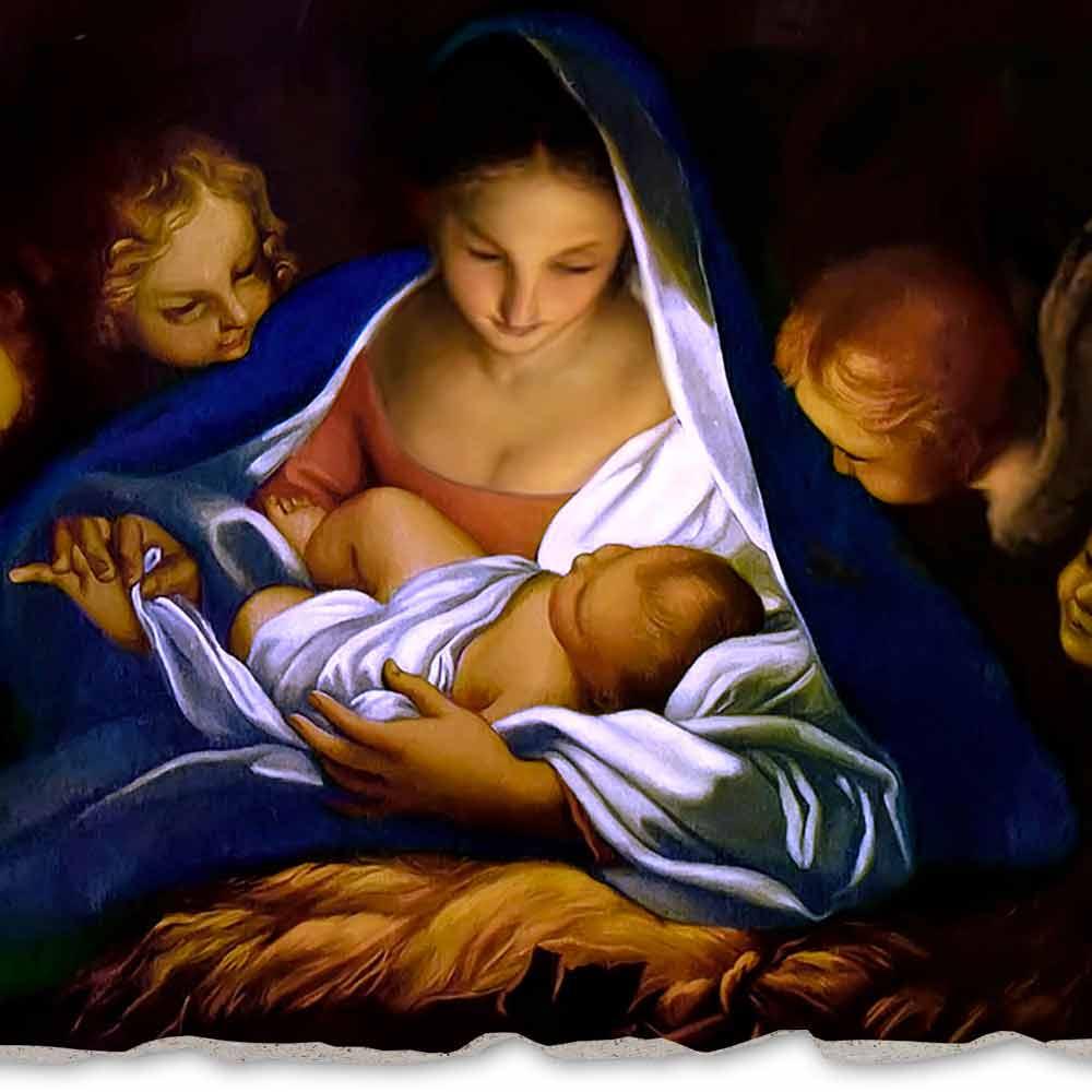 Hand Painted Fresco Nativity By Carlo Maratta Big Size