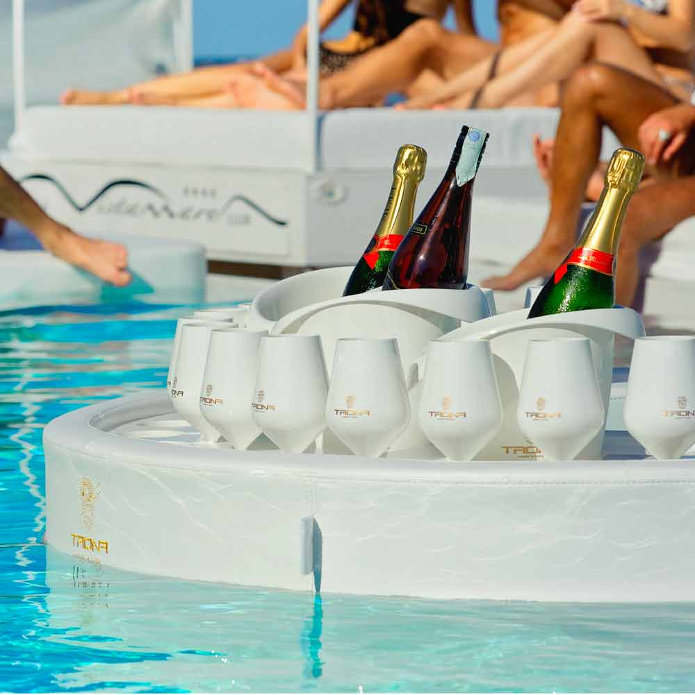 Floating pool bar -  Swim Up Bar Trona Faux Leather White Nautical And Plexiglass