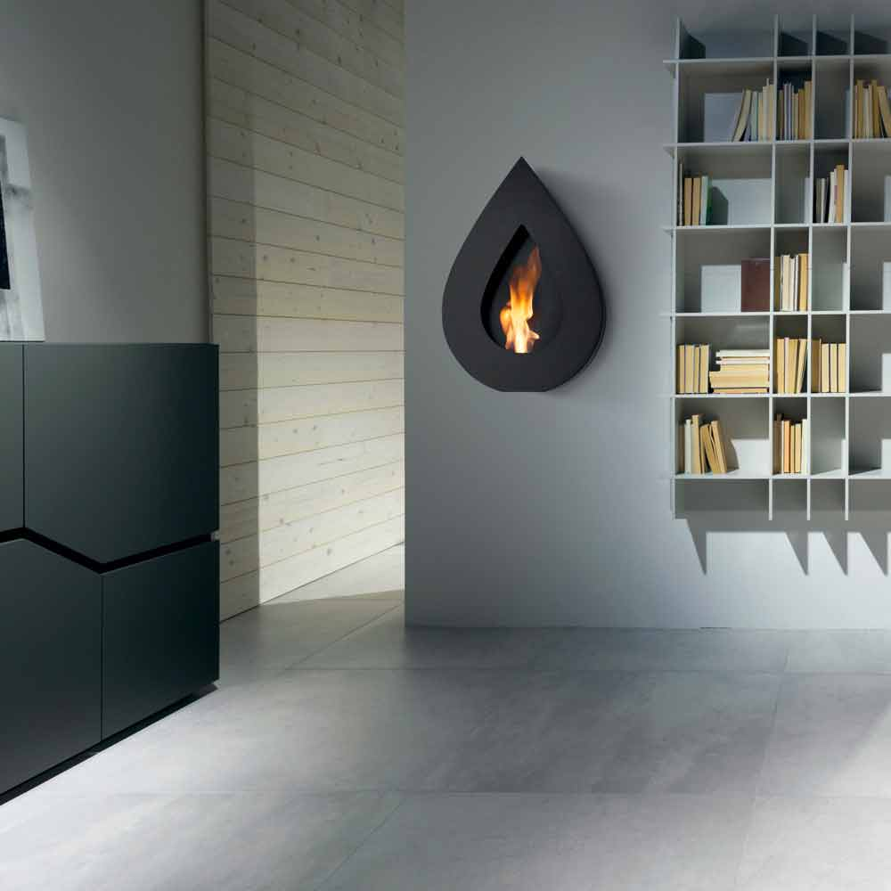 Modern design wall mounted bio ethanol fireplace joseph made in italy - Contemporary fireplaces wall mounted ...