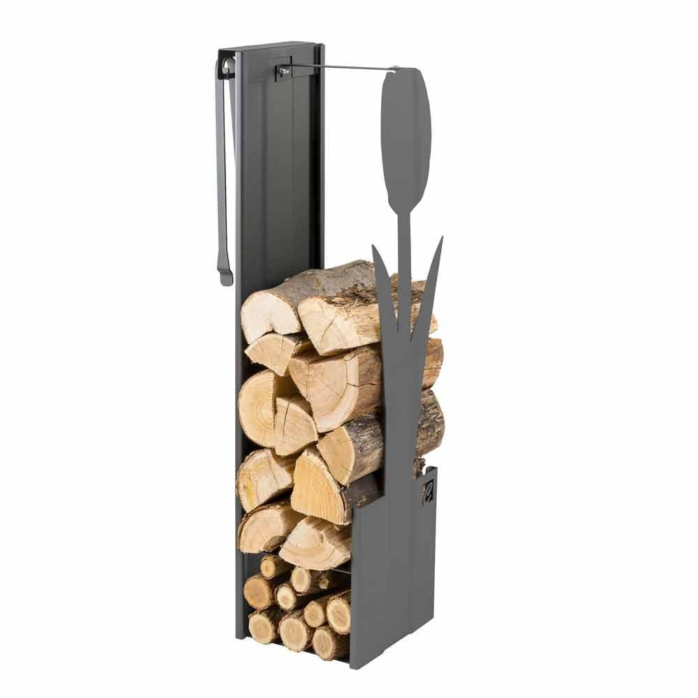 Contemporary Design Log Holder Made Of Steel Plvf Indoor Use