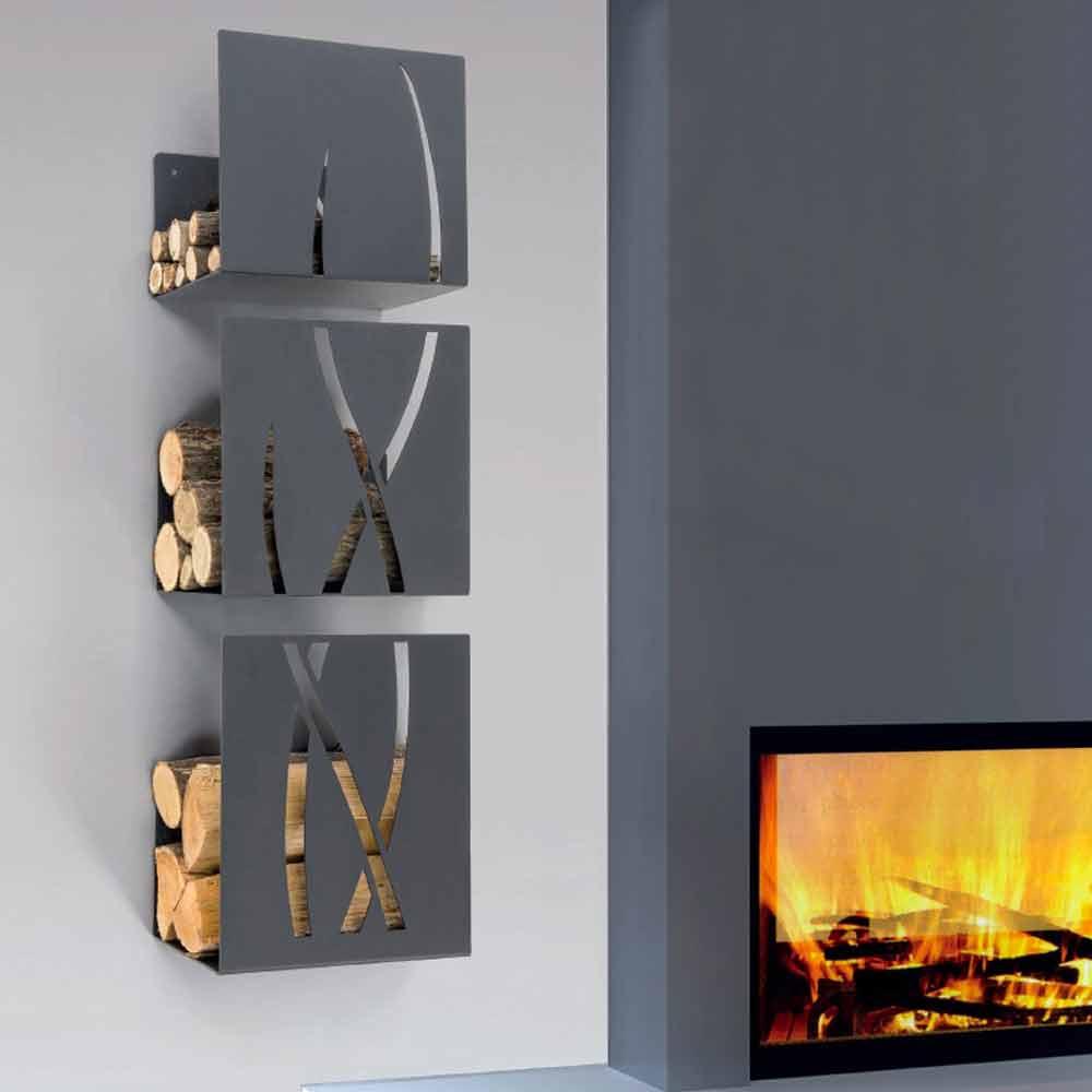 wall mounted log holder modern design trio by caf design