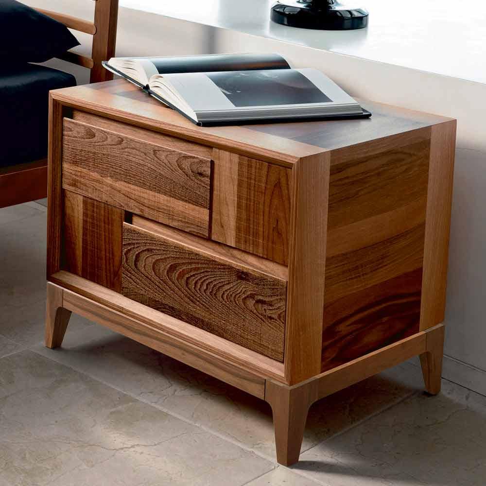 2 Drawer Bedside Table Nino In Solid Walnut Wood Modern
