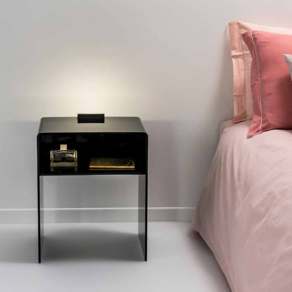 Black Side Table With Led Lighting Adelia Made In Italy
