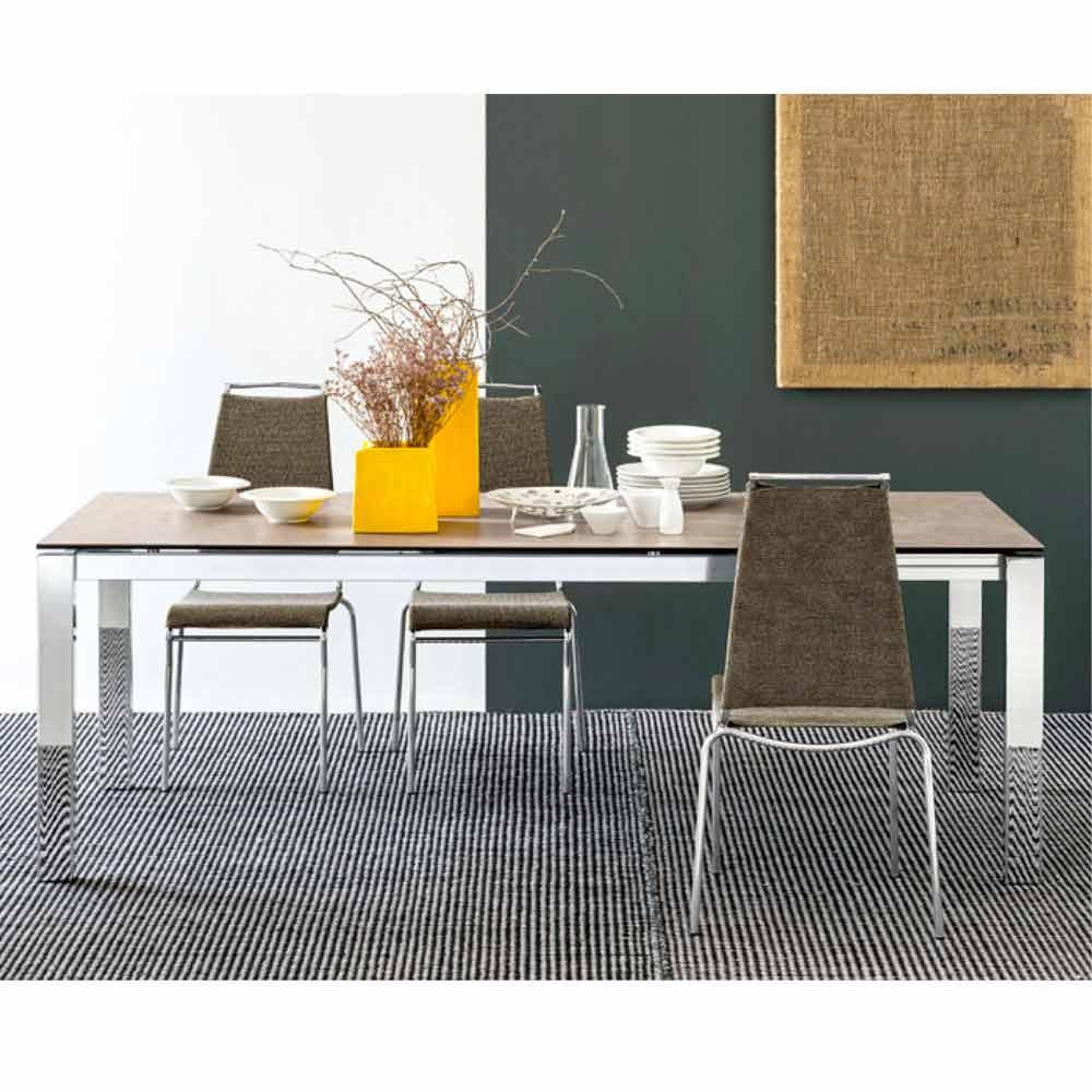 Connubia Calligaris Baron extending table, glass/ceramics L130/190 cm