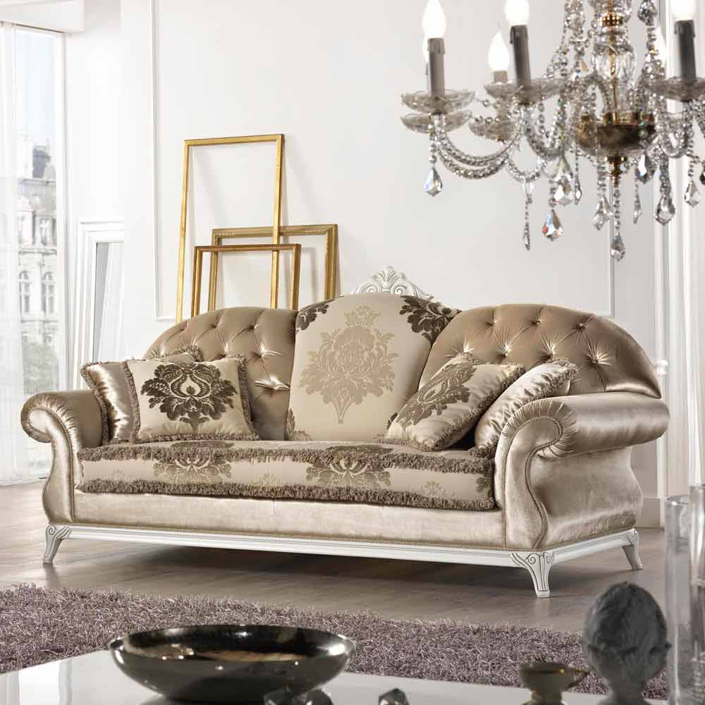 2 Seater Sofa In Baroque Style Fabric Liberty, Made In Italy