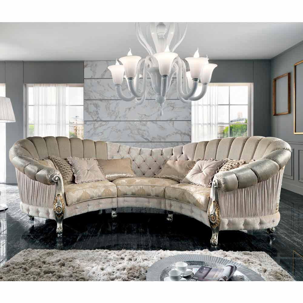Italian 6 seater fabric sofa classic design alexander for Sofa barock