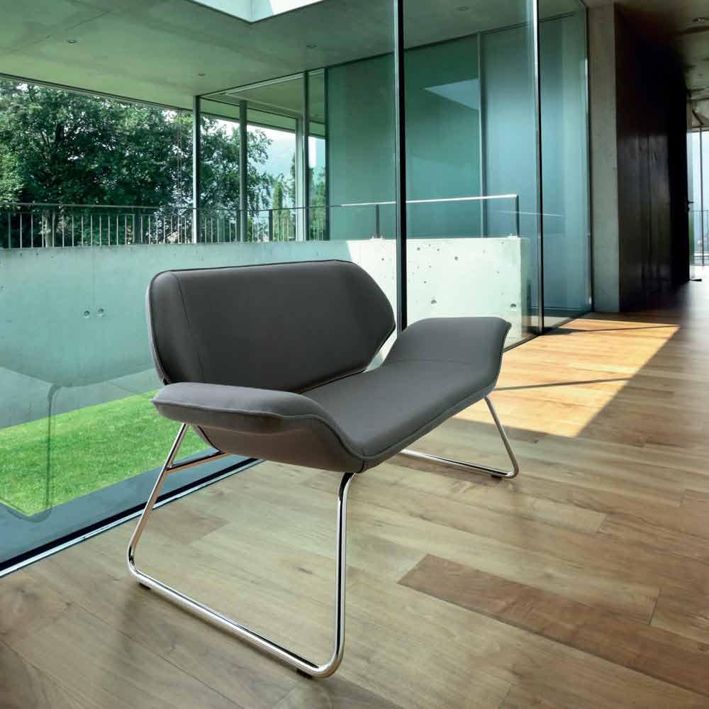 2 seater sofa cesare full grain covering and chromed steel frame Steel frame sofa