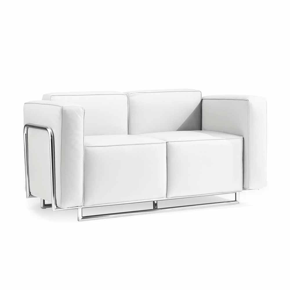2 seater sofa Bugola, eco-leather and chromed structure, modern design