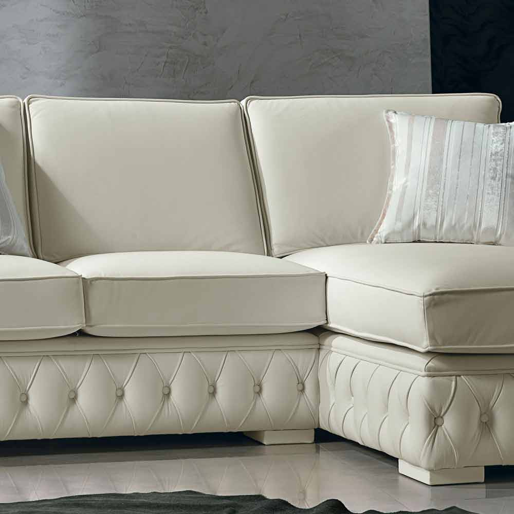 Italian White Leather Corner Sofa Classi Design Teseo