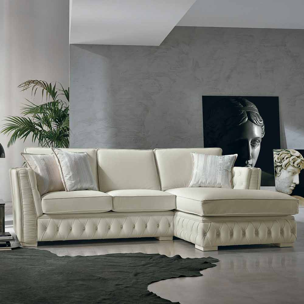 italian white leather corner sofa classi design teseo. Black Bedroom Furniture Sets. Home Design Ideas