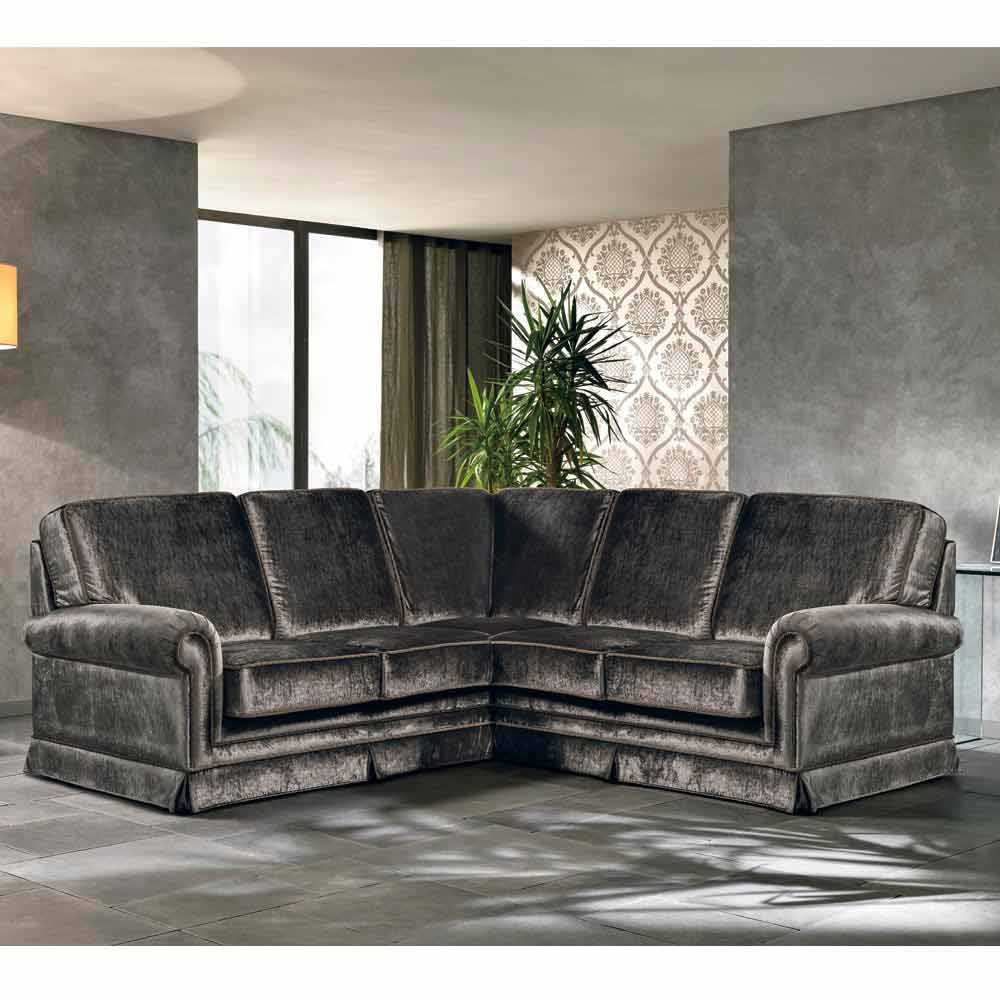 Corner Sofa Partially Removable Fabric Maxim, Made In Italy