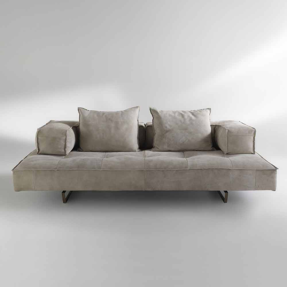 Nabuk Leather Modular Sofa With A Modern Design Cardo Made In Italy