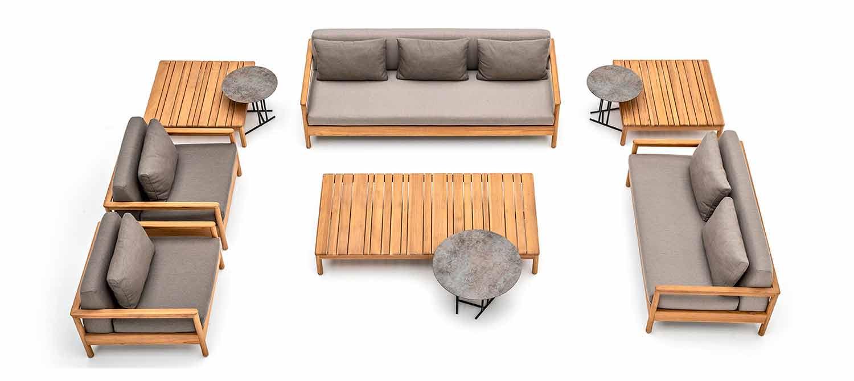 Modern varaschin bali outdoor sofa with padded cushions