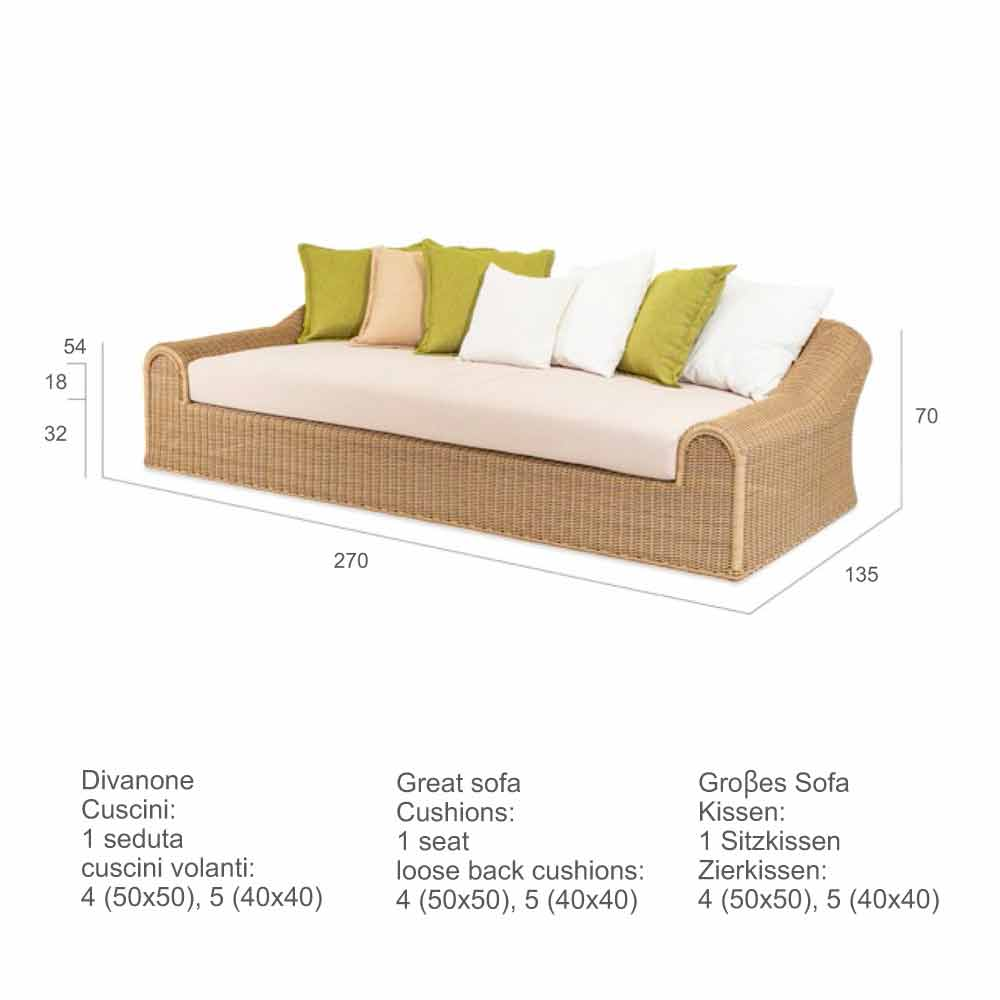 Large Outdoor Sofa Cooper Handmade Modern Design