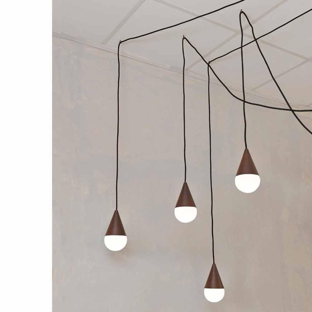 Modern 4 light corten pendant lamp drop for Lampade bagno design