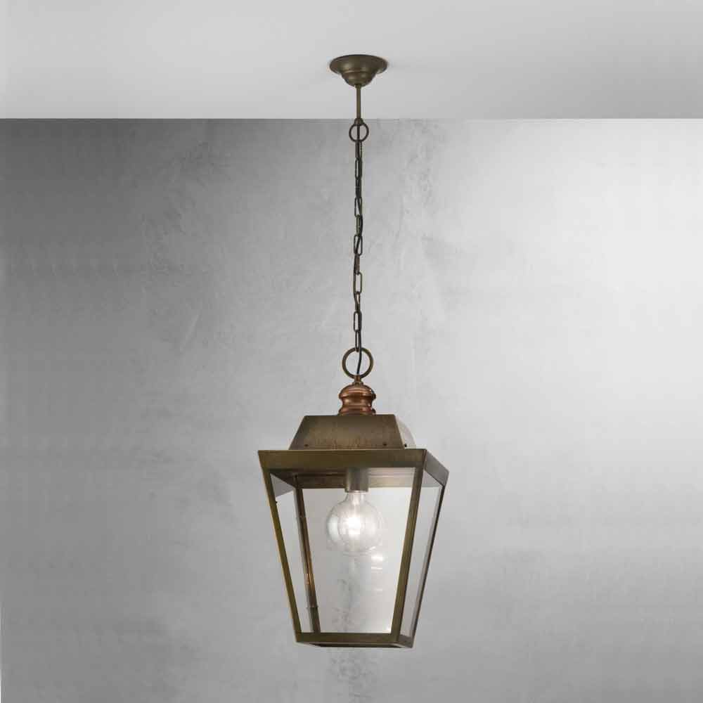 Vintage Industrial Brass And Glass Pendant Light Quadro