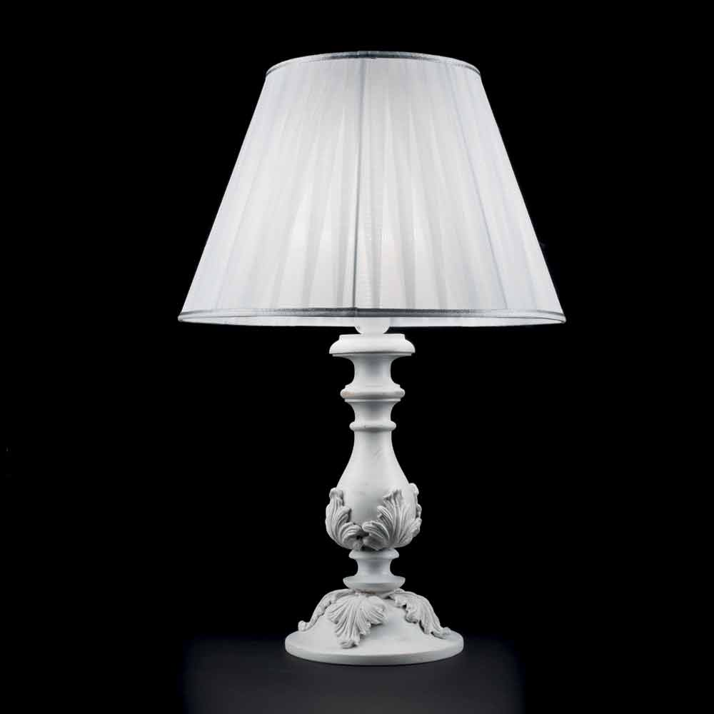 White Table Lamp Made Of Wood Lira Made In Italy Classic Design