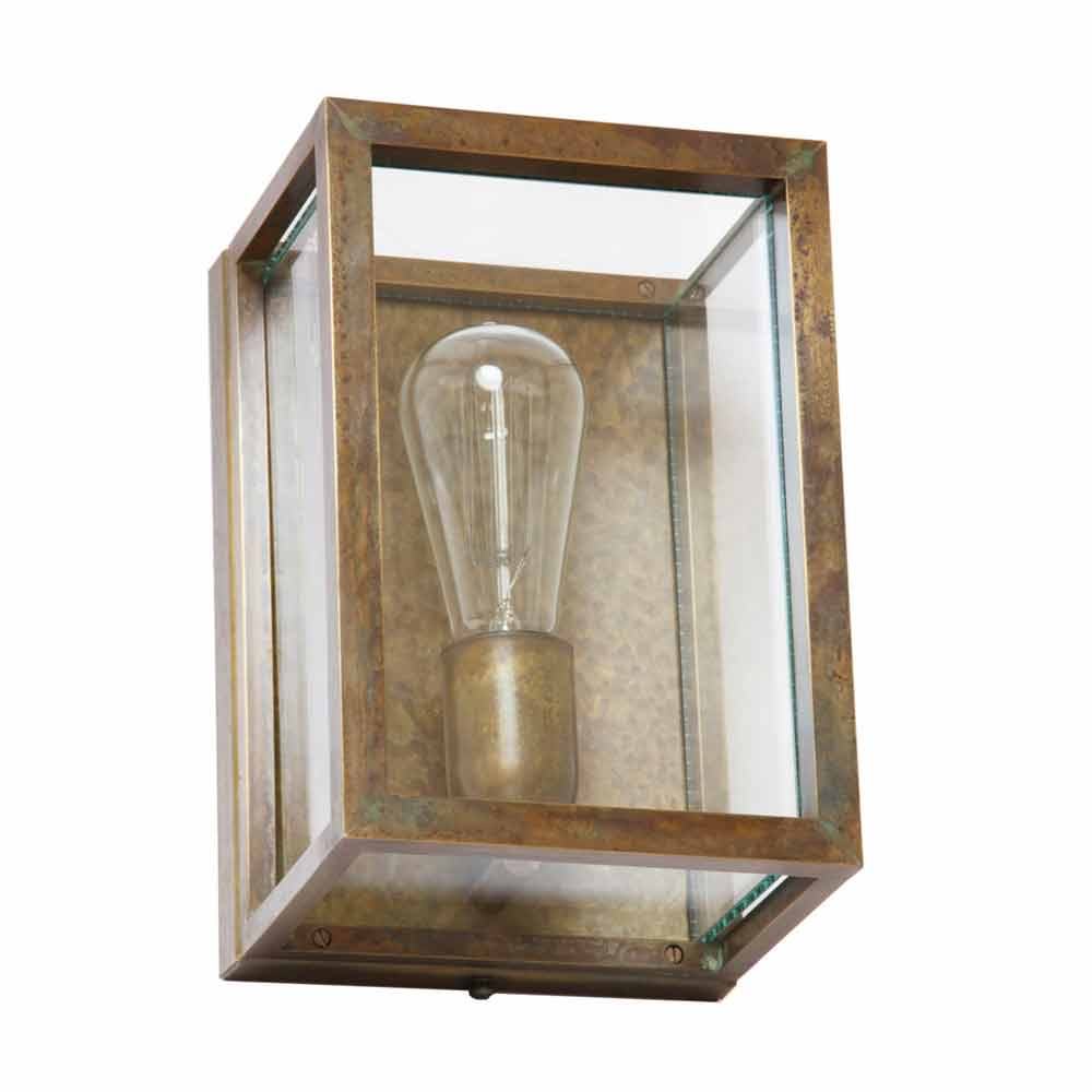 Industrial old looking brass and glass wall sconce Quadro, made in ...