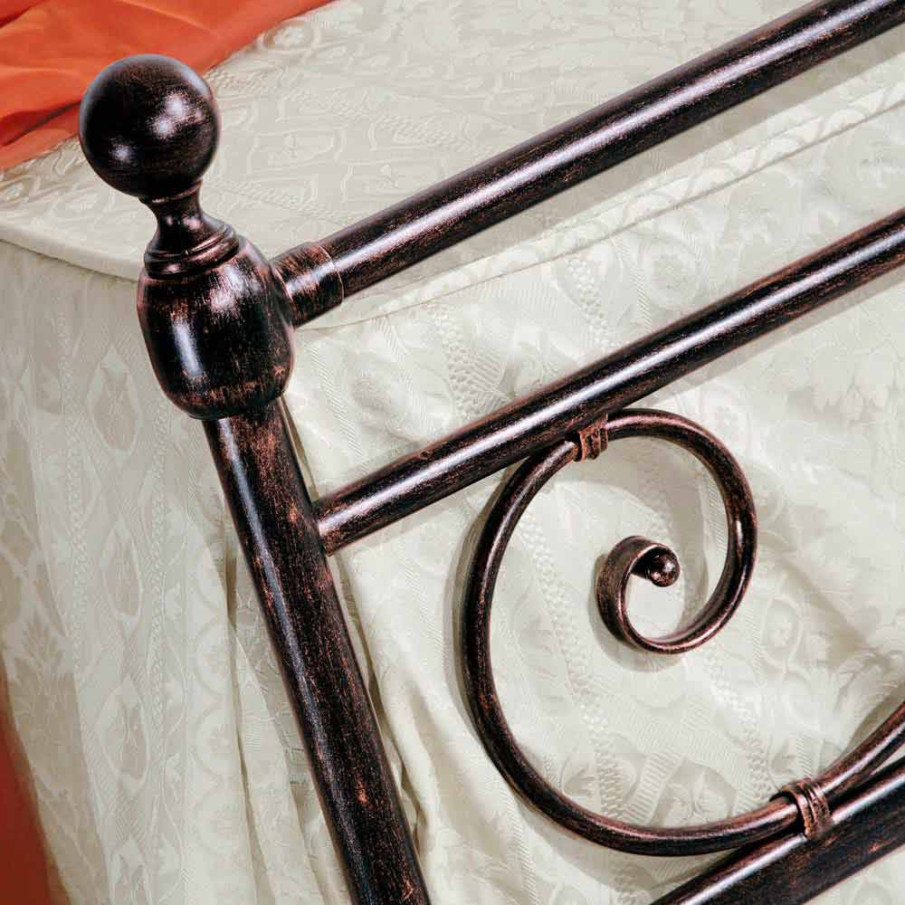 Wrought iron double bed Alexa, classic design, handmade in Italy