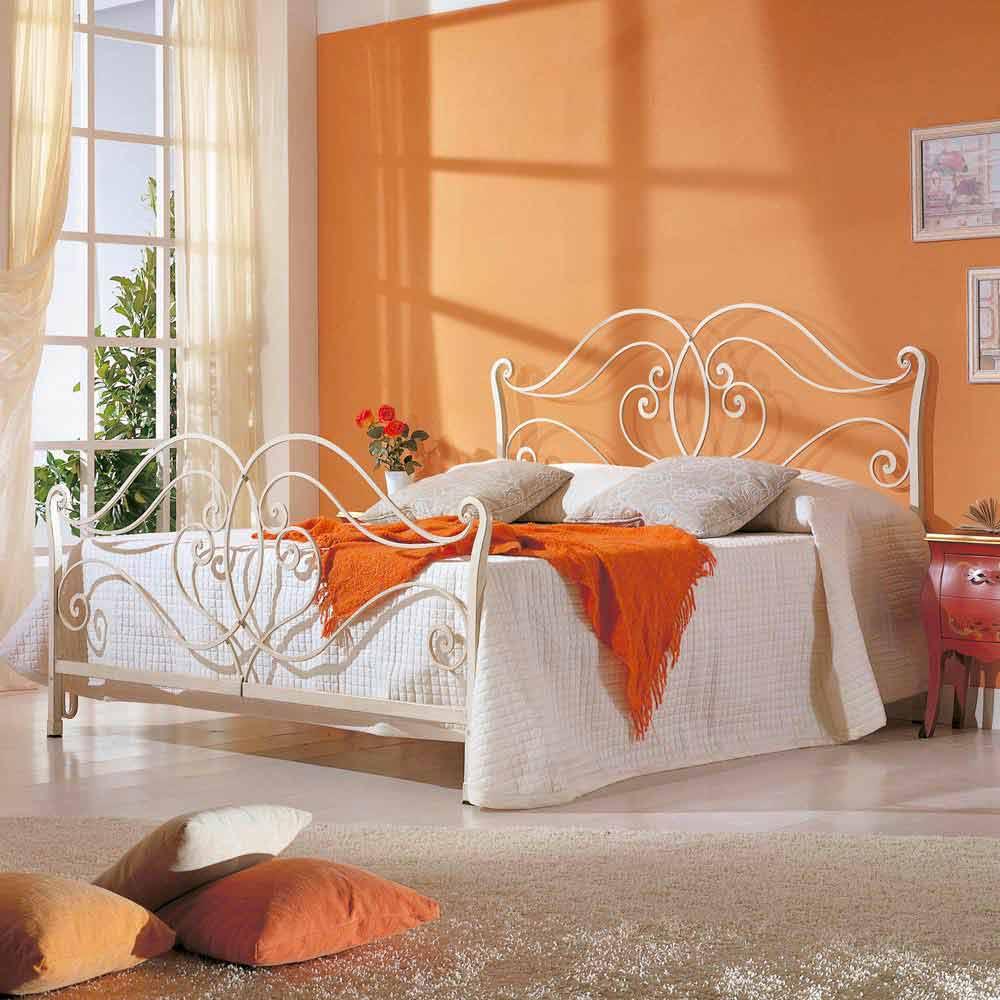 Italian iron double bed Allie, classic design, handmade