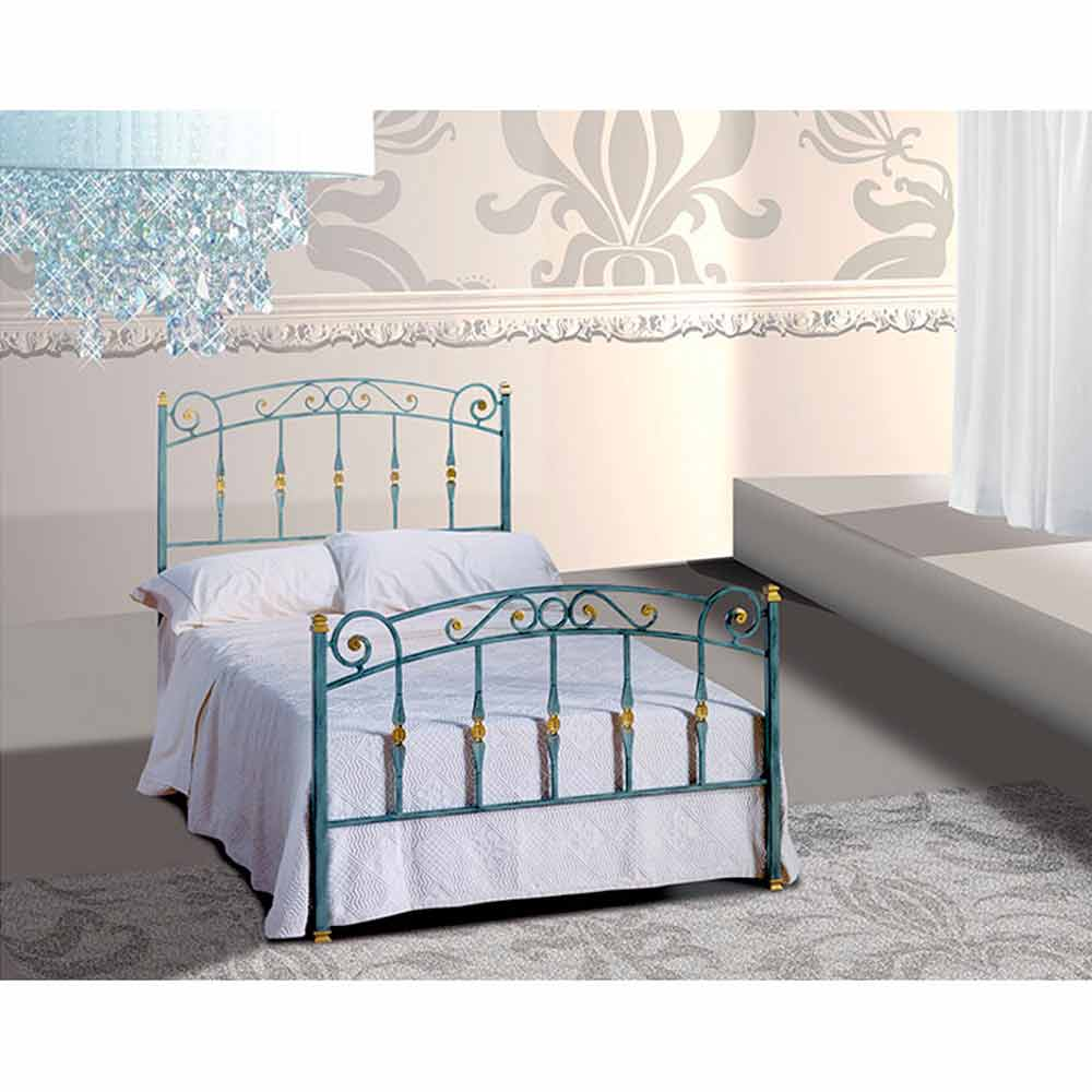 Wrought Iron Small Double Bed Diamante Handmade In Italy