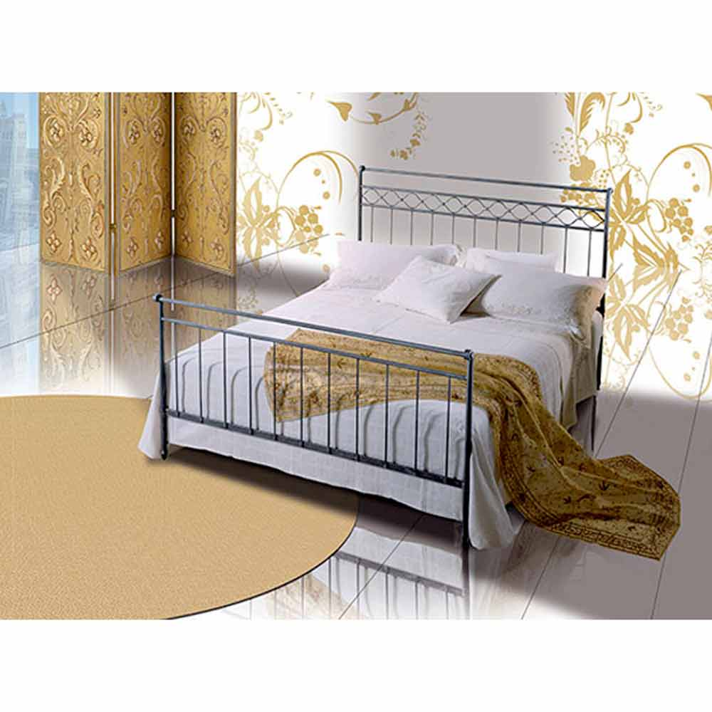 Wrought-iron small double bed Efesto, handmade in Italy.