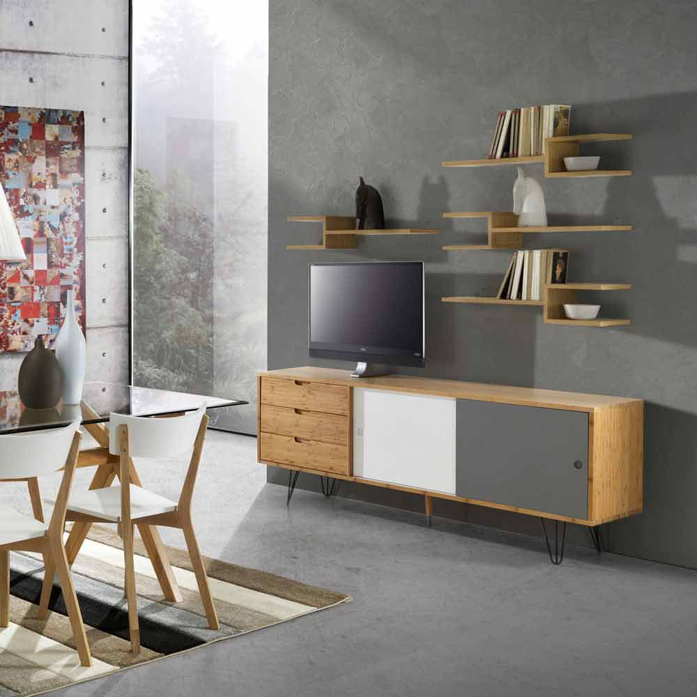 Modern design solid wood tv stand Orio, 3 drawers and 2 doors