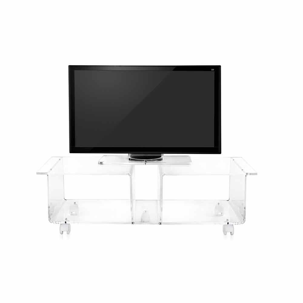 Modern design TV stand made of transparent plexiglass Mago Double