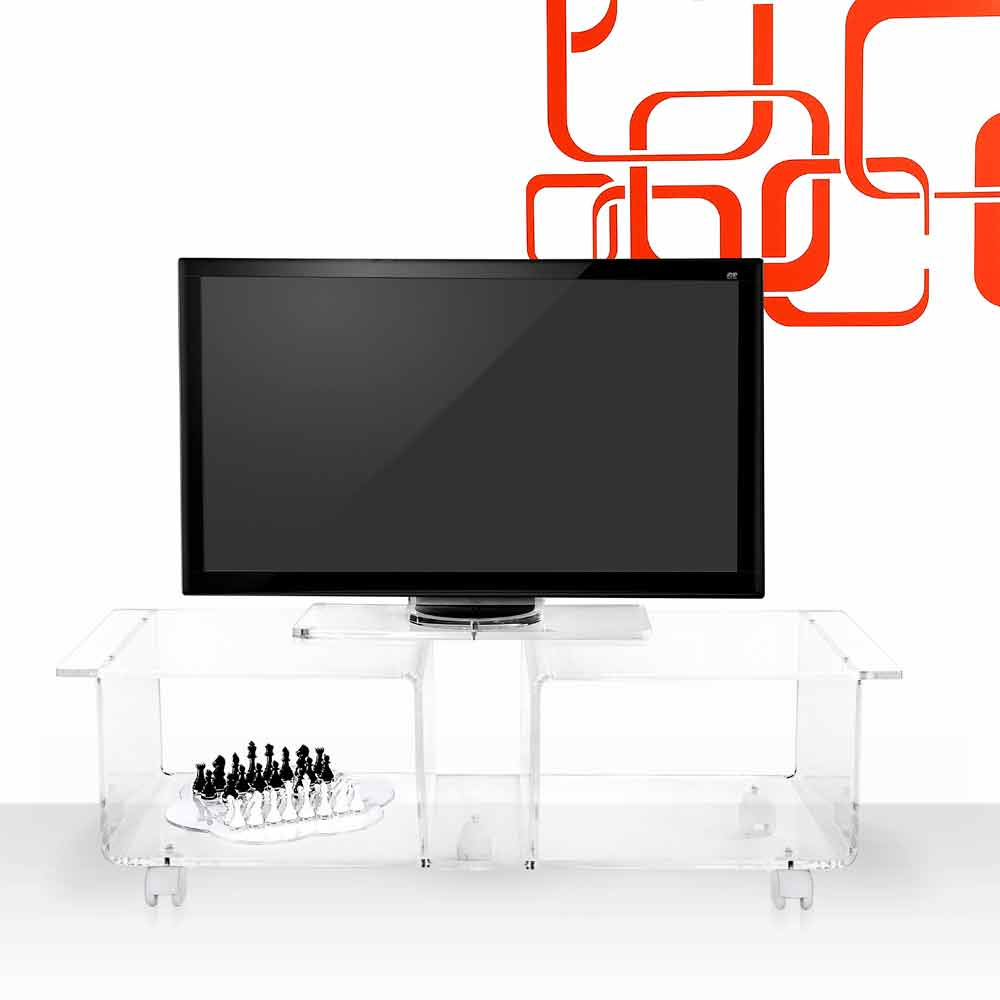 Modern design TV stand made of transparent plexiglass Mago Double