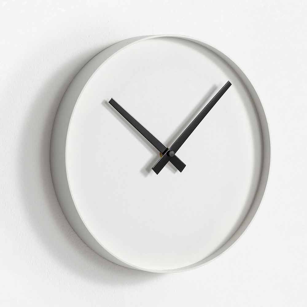 Modern Wall Clock In Black And White Painted Metal