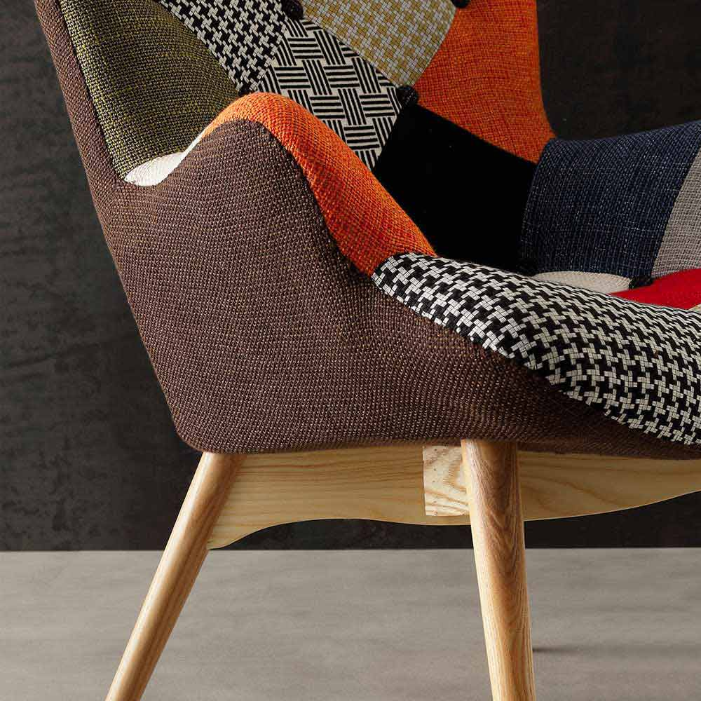 Modern Multi Coloured Patchwork Armchairs Veronica Solid