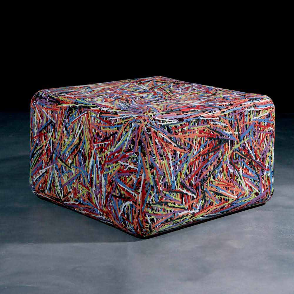 Modern Footstool Pouffe Grazia White Or Multicoloured