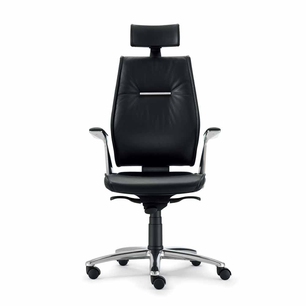 Full grain leather executive office chair ines modern design for Modern leather office chairs