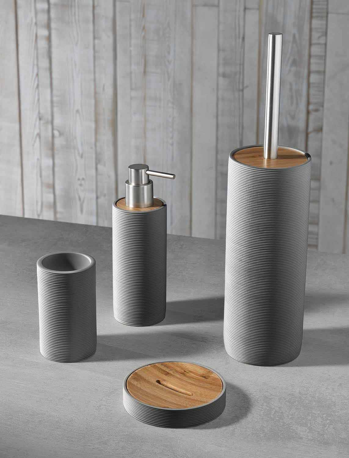 Set of Modern Design Bathroom Accessories in White or Gray ...