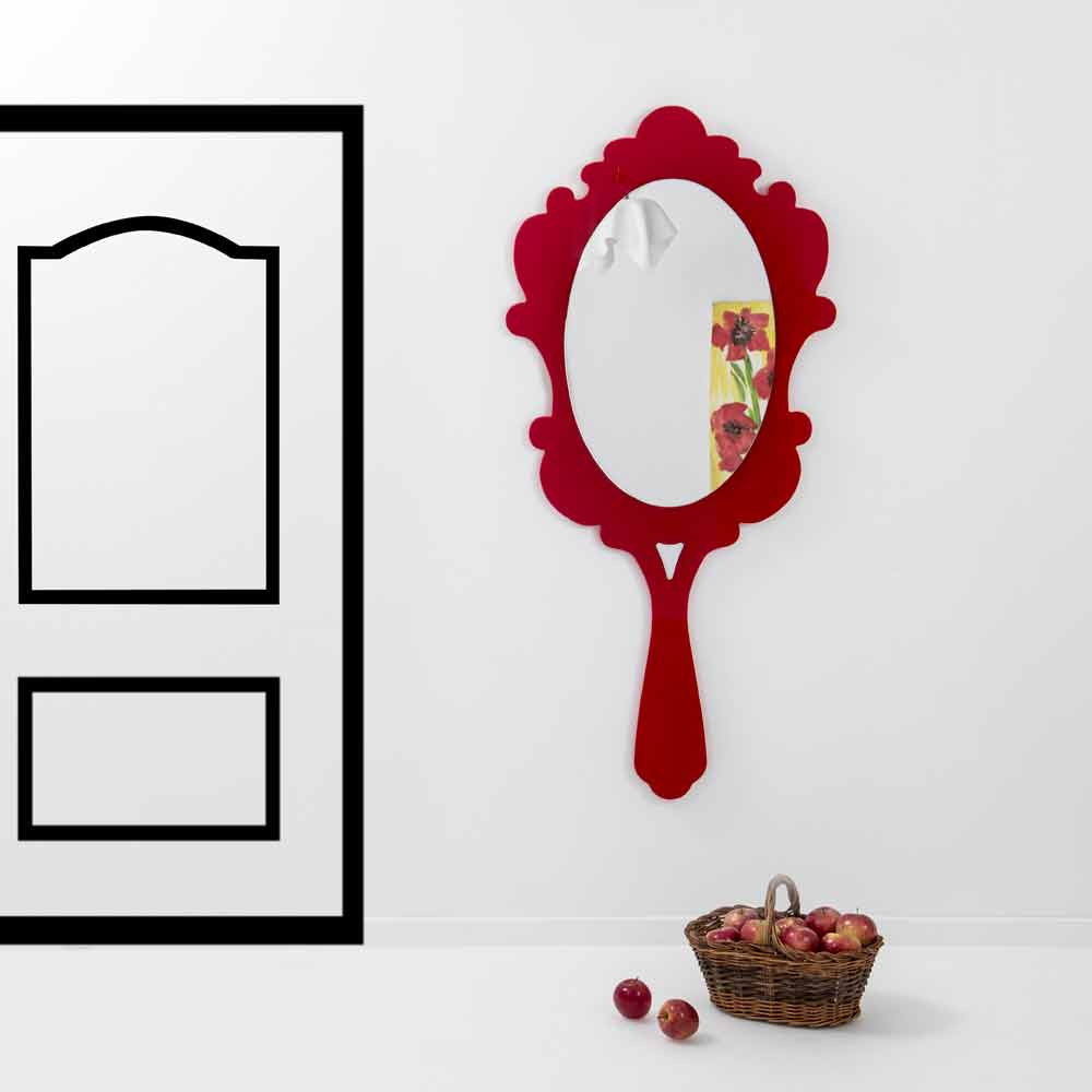 Modern design wall mirror with decorated frame Neve, red finish