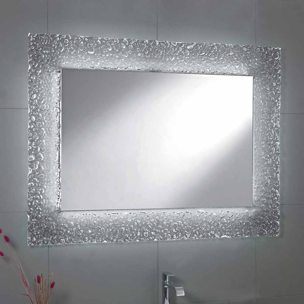 Lampada Led Specchio Bagno tara bathroom mirror with glass frame and led light, modern design