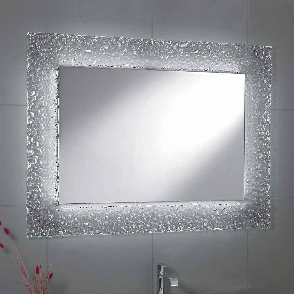 Tara bathroom mirror with glass frame and LED light, modern design