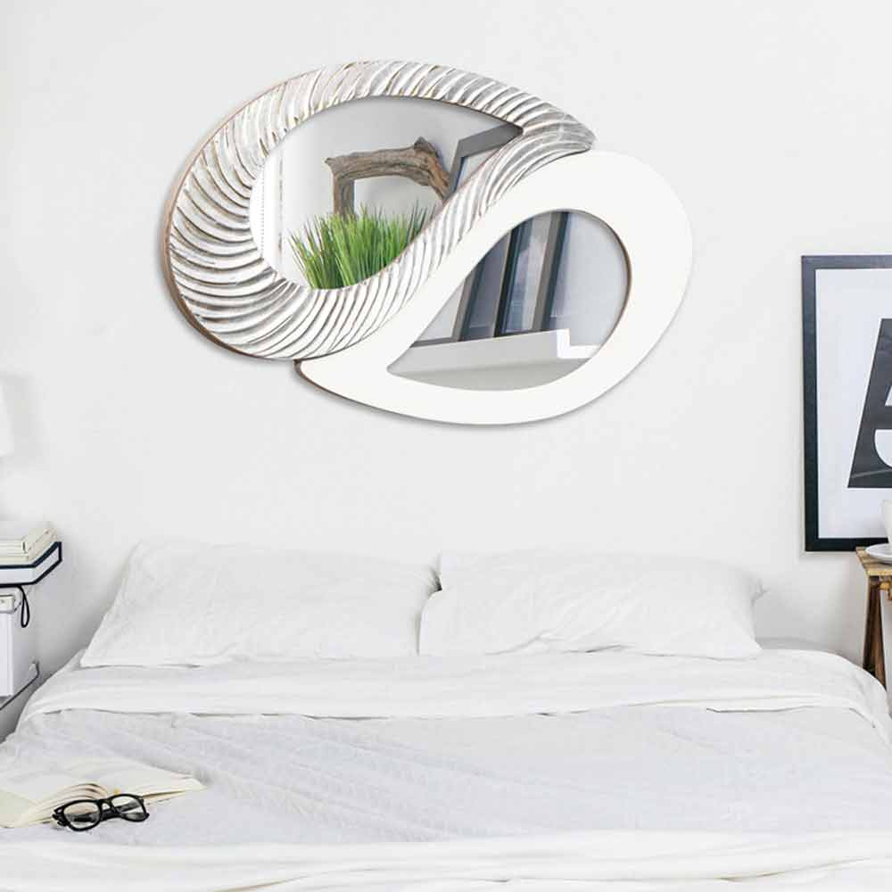 Silver and ivory wall mirror meyer modern design made in for Design made in italy