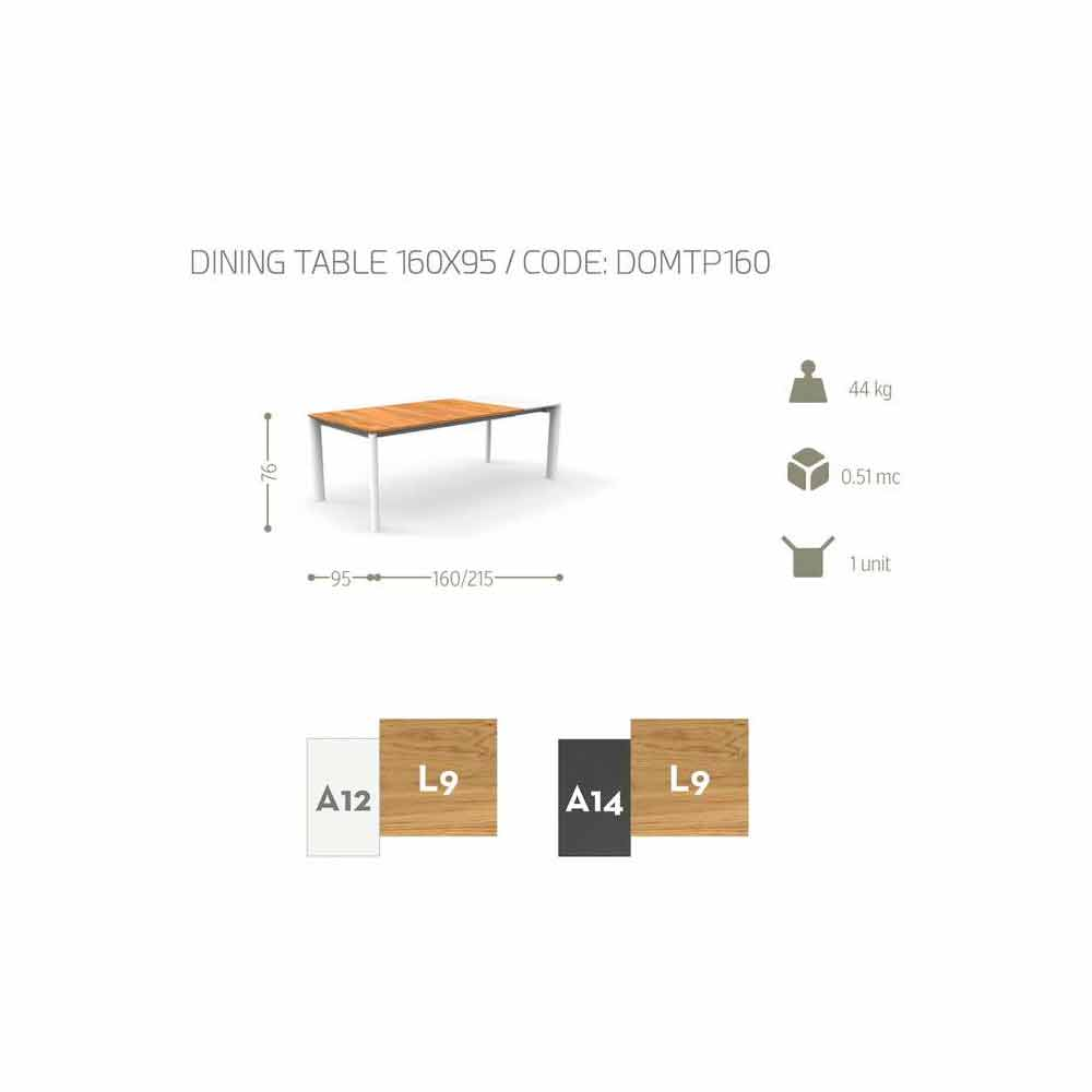 Outdoor extendable table domino by talenti 160 215 cm for Table extensible 160 cm