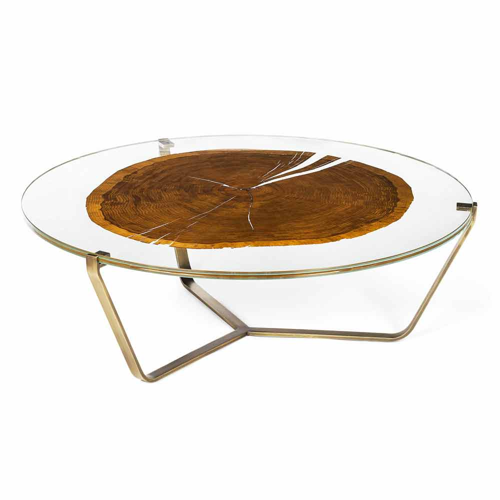 Modern Coffee Table Bigo With Glass And Wooden Top Made In Italy