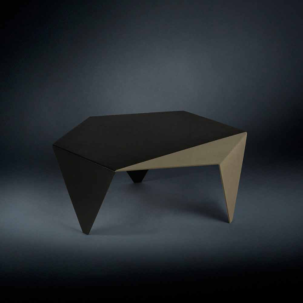 Bicolor Laser Cut Metal Coffee Table Ruche Modern Design