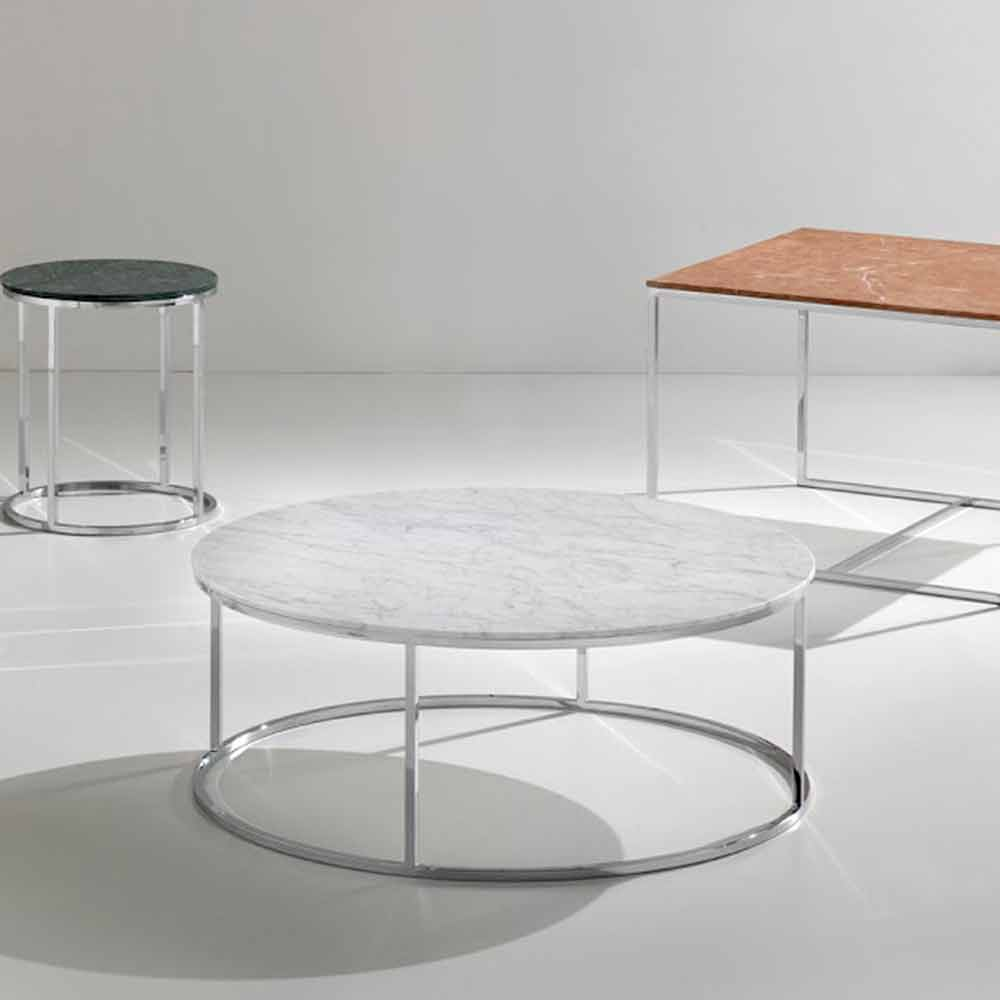 Modern Design Coffee Table Made Of White Carrara Marble Zeus Ø Cm - White carrara marble coffee table
