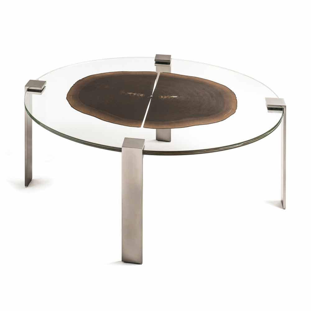 Oval coffee table buck 2 with glass and wooden top for Modern wood and glass coffee table