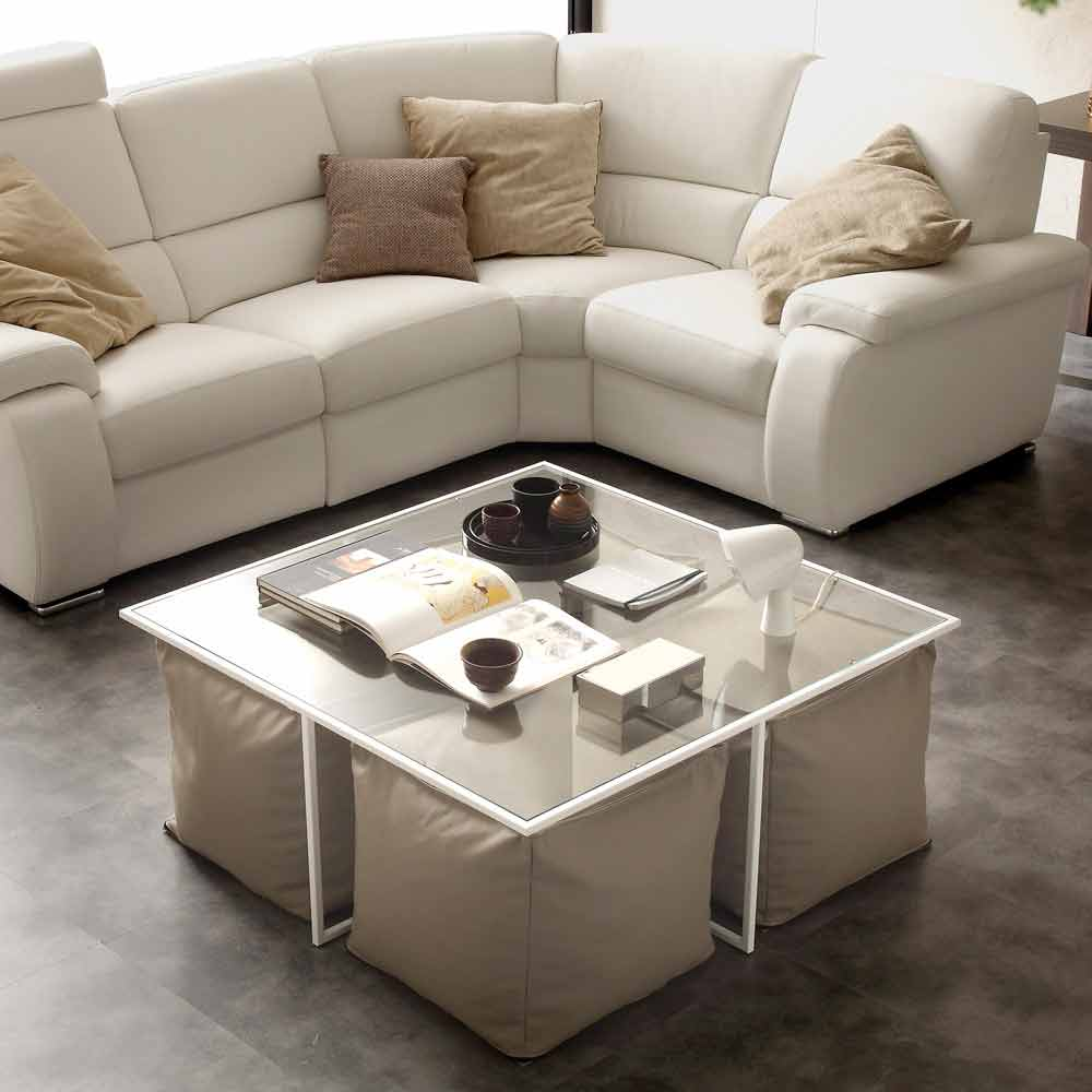 Coffee table lula with 4 poufs eco leather upholstery for Table basse 6 poufs