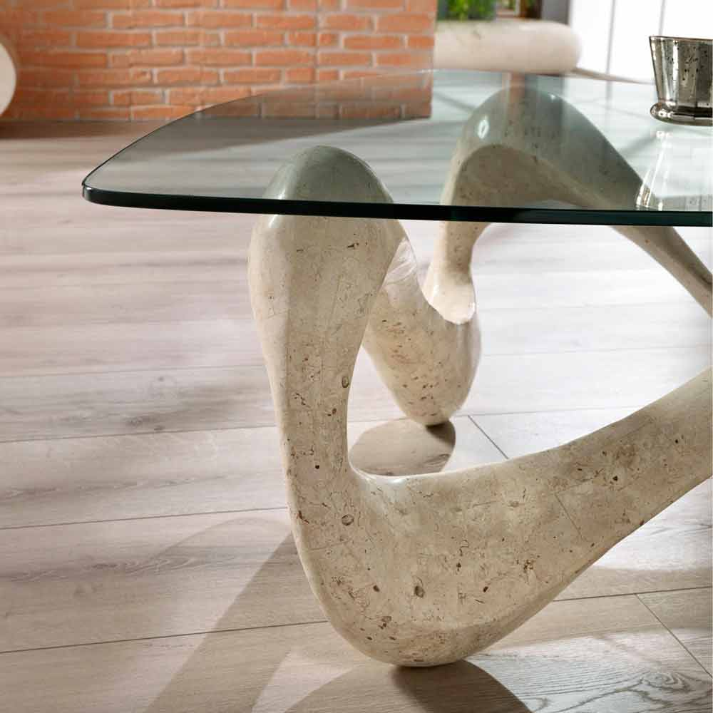 glass and fossil stone coffee table california. Black Bedroom Furniture Sets. Home Design Ideas