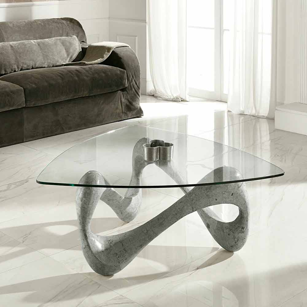 Glass and fossil stone coffee table california for Wohnzimmertisch granit