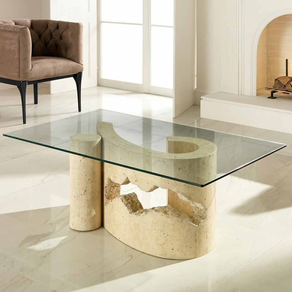 Fossil stone and glass coffee table madison coffee table in glass and stone fossil madison geotapseo Image collections