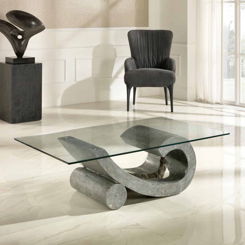 Fossil stone and glass coffee table madison for Tavolini design
